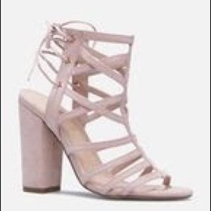 Blush Block Heeled Strappy Sandals